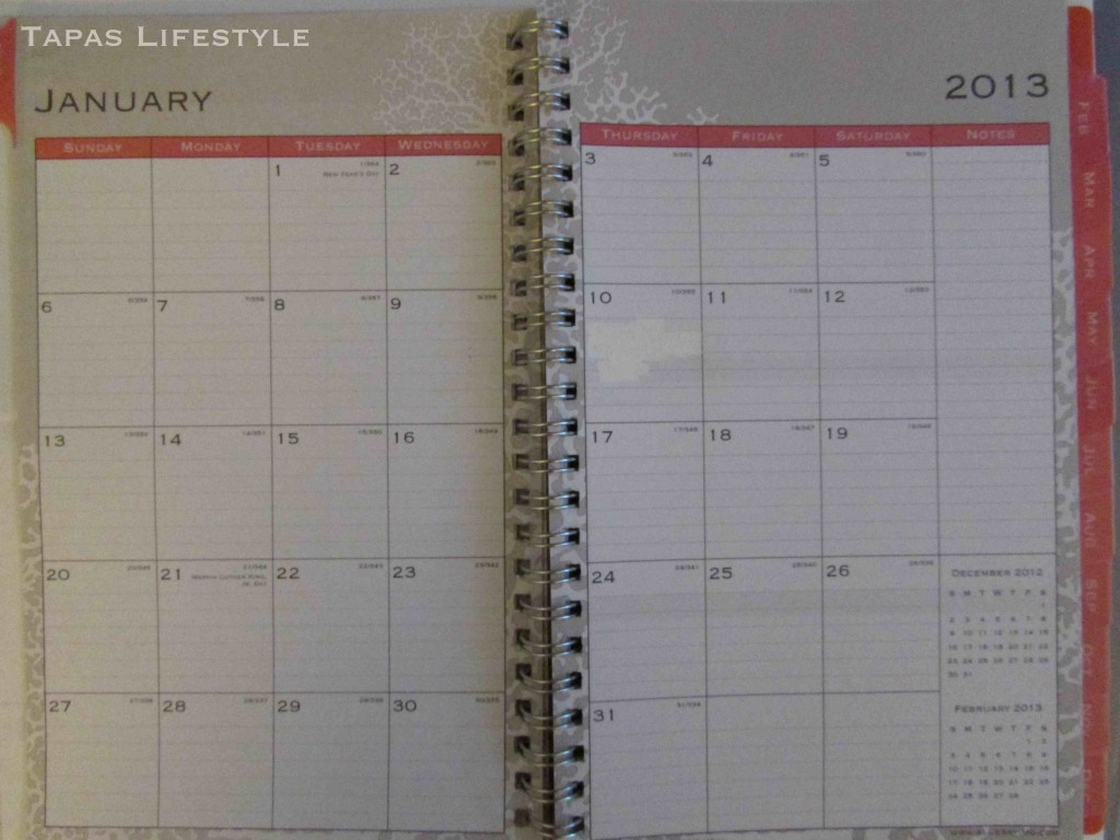 The Nassau 5 x 8 planner from Blue Sky Monthly Page