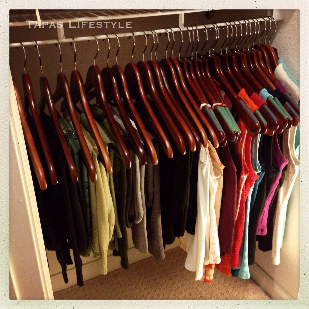 Shirts organized by color and category