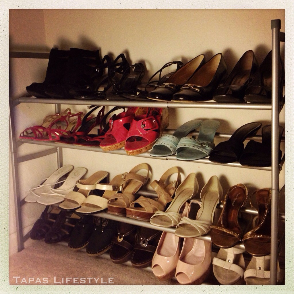 "My ""girly shoes"" organized by color"