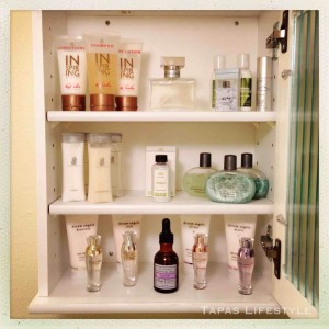 Inside the Bathroom Cabinet from Target for extra perfumes, lotions and bathing supplies,