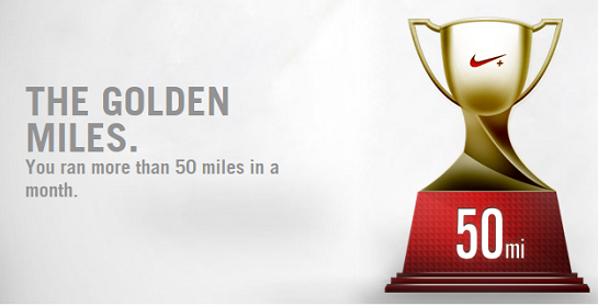 Nike+ Badge for running 50 miles in a month from Nike+ Running App