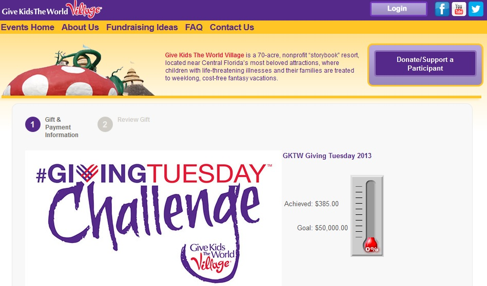 Give Kids The World - #GivingTuesday Challenge 2013