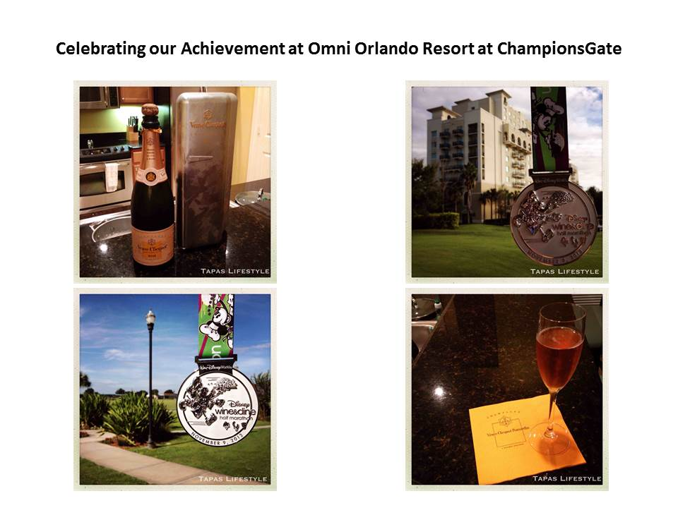 Celebrating our Achievement of the runDisney Wine & Dine Half Marathon at Omni Orlando Resort at ChampionsGate