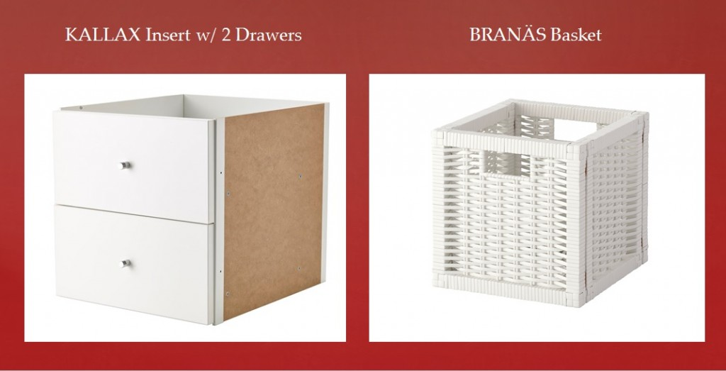 IKEA - KALLAX Drawers - The insert looks nice in a room divider as the back has also been finished. - IKEA - BranaŠs White Pine Basket - Perfect for newspapers, photos or other memorabilia. Easy to pull out and lift as the basket has handles.