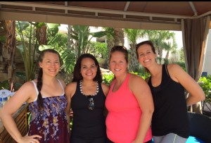 Myself, Margarita, Heather and Amanda at Cabana 6 at the Pool at Hyatt Regency Orlando